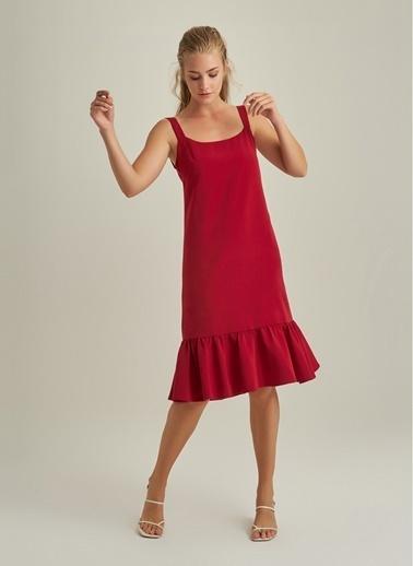 NGSTYLE Askılı Volanlı Elbise Kırmızı